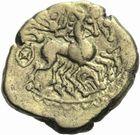 Photo numismatique  MONNAIES GAULE - CELTES CARNUTES (région de Chartres)  Statère d'or de la classe III.