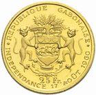 Photo numismatique  MONNAIES MONNAIES DU MONDE GABON République (depuis 1960) LEON MBA président 25 francs or, 1960.