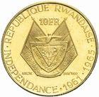 Photo numismatique  MONNAIES MONNAIES DU MONDE RWANDA République. Président Kayibanda 10 francs or, 1965.