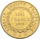 Photo numismatique  MONNAIES MODERNES FRANÇAISES 3ème REPUBLIQUE (4 septembre 1870-10 juillet 1940)  100 francs or, 1908.