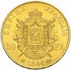Photo numismatique  MONNAIES MODERNES FRANÇAISES NAPOLEON III, empereur (2 décembre 1852-1er septembre 1870)  50 francs or, 1866 BB.