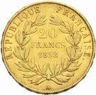 Photo numismatique  MONNAIES MODERNES FRANÇAISES LOUIS-NAPOLEON BONAPARTE Prince-Président (2 décembre 1851-2 décembre 1852)  20 francs or, 1852.