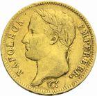 Photo numismatique  MONNAIES MODERNES FRANÇAISES NAPOLEON Ier, empereur (18 mai 1804- 6 avril 1814)  40 francs or, 1812.