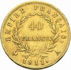Photo numismatique  MONNAIES MODERNES FRANÇAISES NAPOLEON Ier, empereur (18 mai 1804- 6 avril 1814)  40 francs or, 1811.