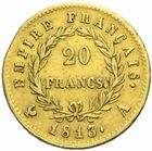 Photo numismatique  MONNAIES MODERNES FRANÇAISES NAPOLEON Ier, empereur (18 mai 1804- 6 avril 1814)  20 francs or, 1813.