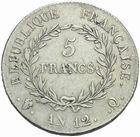 Photo numismatique  MONNAIES MODERNES FRANÇAISES LE CONSULAT (à partir du 24 décembre 1799-18 mai 1804)  5 francs, Perpignan an12.