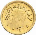 Photo numismatique  MONNAIES MONNAIES DU MONDE IRAN MOHAMMED REZA PAHLEVI (1942-1979) 1/4  Pahlavi or, 1355=1976.