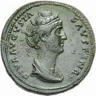 Photo numismatique  MONNAIES EMPIRE ROMAIN FAUSTINE mère (épouse d'Antonin +141)  Sesterce frappé à Rome après 141.