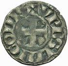 Photo numismatique  MONNAIES ROYALES FRANCAISES LOUIS VII (1er août 1137-18 septembre 1180)  Denier frappé à Langres à l'époque de Louis VII, immobilisation au nom du roi Louis.