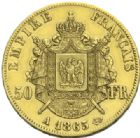 Photo numismatique  MONNAIES MODERNES FRANÇAISES NAPOLEON III, empereur (2 décembre 1852-1er septembre 1870)  50 francs or, 1865.