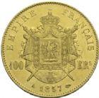 Photo numismatique  MONNAIES MODERNES FRANÇAISES NAPOLEON III, empereur (2 décembre 1852-1er septembre 1870)  100 francs or, 1857.
