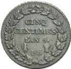 Photo numismatique  MONNAIES MODERNES FRANÇAISES LE DIRECTOIRE (27 octobre 1795-10 novembre 1799)  Cinq centimes.