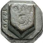 Photo numismatique  ARCHIVES VENTE 2012 POIDS DE VILLE PÉZENAS (Hérault)  827- Poids d'une livre, daté 1790.