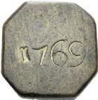 Photo numismatique  ARCHIVES VENTE 2012 POIDS DE VILLE MONTPELLIER (Hérault)  822- Poids d'un huitième de livre de forme octogonale, 1769.