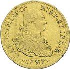 Photo numismatique  ARCHIVES VENTE 2012 MONNAIES DU MONDE ESPAGNE CHARLES IV (1788-1808) 783- 1 scudo d'or, frappé à Mexico en 1797.