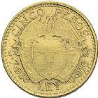 Photo numismatique  ARCHIVES VENTE 2012 MONNAIES DU MONDE COLOMBIE REPUBLIQUE (depuis 1830) 781- 5 pesos or, 1913.