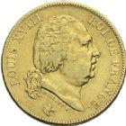 Photo numismatique  ARCHIVES VENTE 2012 MODERNES FRANÇAISES LOUIS XVIII, 2e restauration (8 juillet 1815-16 septembre 1824)  719- 40 francs or, Paris 1818.