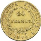 Photo numismatique  ARCHIVES VENTE 2012 MODERNES FRANÇAISES NAPOLEON Ier, empereur (18 mai 1804- 6 avril 1814)  717- 40 francs or, Paris 1806.