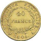 Photo numismatique  ARCHIVES VENTE 2012 MODERNES FRANÇAISES NAPOLEON Ier, empereur (18 mai 1804- 6 avril 1814)  717- 40 francs or, Paris 1806.