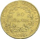 Photo numismatique  ARCHIVES VENTE 2012 MODERNES FRANÇAISES NAPOLEON Ier, empereur (18 mai 1804- 6 avril 1814)  715- 20 francs or, Paris, an 12.