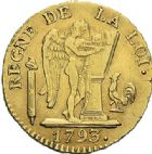 Photo numismatique  ARCHIVES VENTE 2012 MODERNES FRANÇAISES LA CONVENTION (22 septembre 1792 - 26 octobre 1795)  712- Louis d'or de 24 livres, frappé en 1793 à Paris.