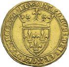 Photo numismatique  ARCHIVES VENTE 2012 ROYALES FRANCAISES CHARLES VI (16 septembre 1380-21 octobre 1422)  502- Ecu d'or de la 1ère émission (11 mars 1385), peut-être frappé à Toulouse.