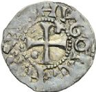 Photo numismatique  ARCHIVES VENTE 2012 ROYALES FRANCAISES HUGUES CAPET (3 juillet 987-24 octobre 996) Avec l'évêque de Beauvais Hervé (987-998) 455- Denier de Beauvais, frappé avec l'Evêque HERVÉ (987-998).