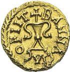Photo numismatique  ARCHIVES VENTE 2012 PEUPLES BARBARES MEROVINGIENS CITES BANASSAC (Lozère) 447- Triens au nom du monétaire Maximinus, frappé vers 630.