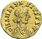 Photo numismatique  ARCHIVES VENTE 2012 PEUPLES BARBARES BURGONDES Monnayage de GONDEBAUD (473-516) 446- Triens au nom de l'empereur Anastase (491-518), frappé à Lyon.