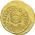 Photo numismatique  ARCHIVES VENTE 2012 EMPIRE BYZANTIN MAURICE TIBERE (582-602)  397- Solidus, frappé à Constantinople.