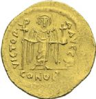 Photo numismatique  ARCHIVES VENTE 2012 EMPIRE BYZANTIN MAURICE TIBERE (582-602)  397- Solidus, frappé à Constantinople.