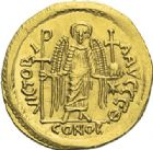 Photo numismatique  ARCHIVES VENTE 2012 EMPIRE BYZANTIN JUSTINIEN Ier (527-565)  393- Solidus, frappé à Constantinople.