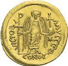 Photo numismatique  ARCHIVES VENTE 2012 EMPIRE BYZANTIN JUSTINIEN Ier (527-565)  393- Solidus, frappé à Constantinople.