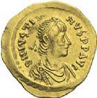 Photo numismatique  ARCHIVES VENTE 2012 EMPIRE BYZANTIN JUSTIN Ier (518-527)  389- Tremissis, frappé à Constantinople.