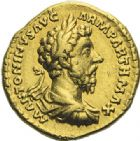 Photo numismatique  ARCHIVES VENTE 2012 EMPIRE ROMAIN MARC AURELE  (César 139-161 - Auguste 161-180)  295- Aureus, frappé à Rome en 166.