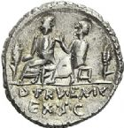 Photo numismatique  ARCHIVES VENTE 2012 RÉPUBLIQUE ROMAINE L. Calpurnius Piso Caesoninus et Q. Servilius Caepio (questeurs (vers 100)  223- Denier.