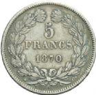 Photo numismatique  MONNAIES MODERNES FRANÇAISES GOUVERNEMENT de DEFENSE NATIONALE (4 septembre 1870-1871)  5 francs sans légende.