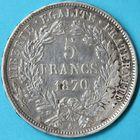 Photo numismatique  MONNAIES MODERNES FRANÇAISES GOUVERNEMENT de DEFENSE NATIONALE (4 septembre 1870-1871)  5 francs avec légende.