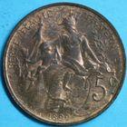 Photo numismatique  MONNAIES MODERNES FRANÇAISES 3ème REPUBLIQUE (4 septembre 1870-10 juillet 1940)  5 centimes.