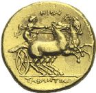 Photo numismatique  ARCHIVES VENTE 2012 GRECE ANTIQUE Italie - Calabre PYRRHUS D'EPIRE (vers 281-272) 11- Statère d'or, (vers 281).
