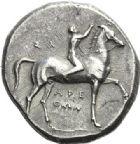Photo numismatique  ARCHIVES VENTE 2012 GRÈCE ANTIQUE Italie - Calabre Epoque entre KLEONYMOS et PYRRHUS. (vers 302-231) 10- Statère, (vers 302-231).