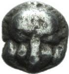 Photo numismatique  MONNAIES GRECE ANTIQUE GAULE Types du trésor d'Auriol (Ve siècle) Tétartémorion milésiaque.