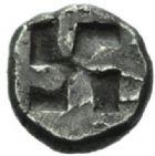 Photo numismatique  MONNAIES GRECE ANTIQUE GAULE Types du trésor d'Auriol (Ve siècle) Tritémorion milésiaque (495-460).