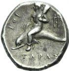 Photo numismatique  MONNAIES VOLEES GRECE ANTIQUE Italie - Calabre Tarente (420-227) 9- Statère, (vers 334-330).