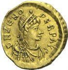 Photo numismatique  MONNAIES VOLEES EMPIRE ROMAIN ZENON (474-491)  385- Tremissis, frappé à Constantinople en 474.