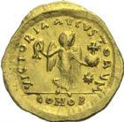 Photo numismatique  MONNAIES VOLEES EMPIRE BYZANTIN JUSTIN Ier (518-527)  389- Tremissis, frappé à Constantinople.