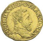 Photo numismatique  MONNAIES VOLEES ROYALES FRANCAISES HENRI II (31 mars 1547-10 juillet 1559)  563- Henri d'or du 1er type, frappé à Saint-Lô en 1551.