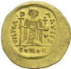 Photo numismatique  MONNAIES EMPIRE BYZANTIN MAURICE TIBERE (582-602)  Solidus de poids léger frappé à Constantinople.