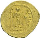Photo numismatique  MONNAIES EMPIRE BYZANTIN MAURICE TIBERE (582-602)  Solidus frappé à Constantinople.