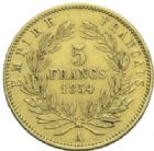 Photo numismatique  MONNAIES MODERNES FRANÇAISES NAPOLEON III, empereur (2 décembre 1852-1er septembre 1870)  5 francs or de petit module, Paris 1854.